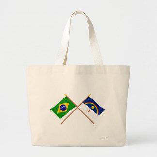 Banderas cruzadas del Brasil y de Pernambuco Bolsa De Mano