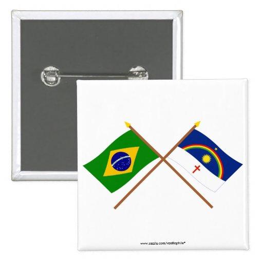 Banderas cruzadas del Brasil y de Pernambuco Pins