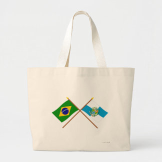 Banderas cruzadas del Brasil y de Río de Janeiro Bolsa Tela Grande