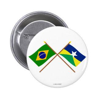 Banderas cruzadas del Brasil y de Rondônia Pins