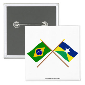 Banderas cruzadas del Brasil y de Rondônia Pin