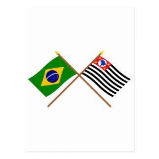 Banderas cruzadas del Brasil y de São Pablo Postales