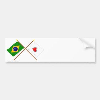 Banderas cruzadas del Brasil y del Minas Gerais Etiqueta De Parachoque