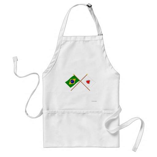 Banderas cruzadas del Brasil y del Minas Gerais Delantal