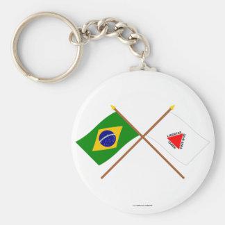Banderas cruzadas del Brasil y del Minas Gerais Llavero