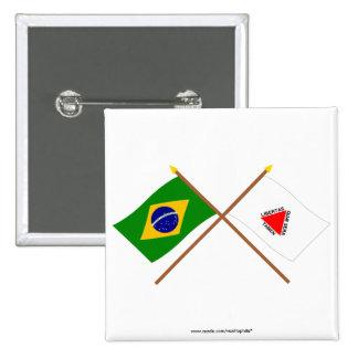 Banderas cruzadas del Brasil y del Minas Gerais Pin Cuadrada 5 Cm