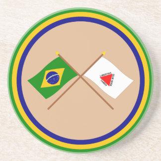 Banderas cruzadas del Brasil y del Minas Gerais Posavasos Manualidades