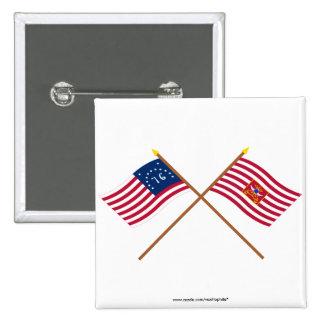Banderas cruzadas del caballo de Bennington y de S Pin