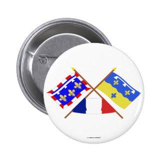 Banderas cruzadas del centro y del Loir-et-Cher Pin