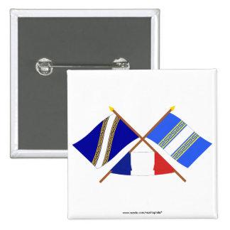 Banderas cruzadas del Champagne Ardenne y de Haute Pin