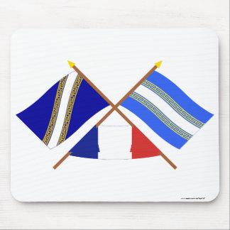 Banderas cruzadas del Champagne Ardenne y de Marne Tapetes De Raton