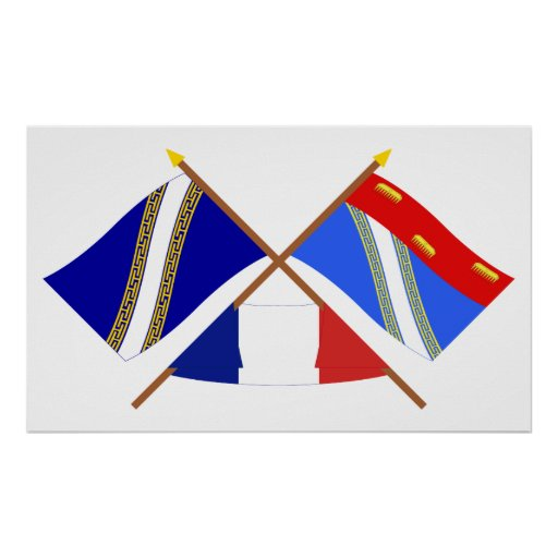 Banderas cruzadas del Champagne Ardenne y de Póster