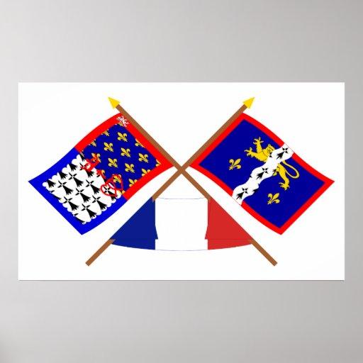 Banderas cruzadas del Pays-de-la-Loire y de Mayenn Poster