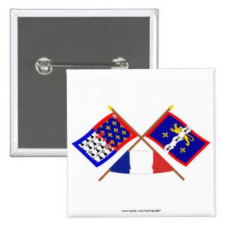 Banderas cruzadas del Pays-de-la-Loire y de Mayenn Pin
