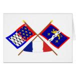 Banderas cruzadas del Pays-de-la-Loire y de Tarjeta De Felicitación
