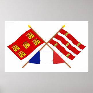 Banderas cruzadas del Poitou-Charentes y de Deux-S Póster