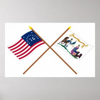 Banderas cruzadas del salvavidas de Bennington y d Póster