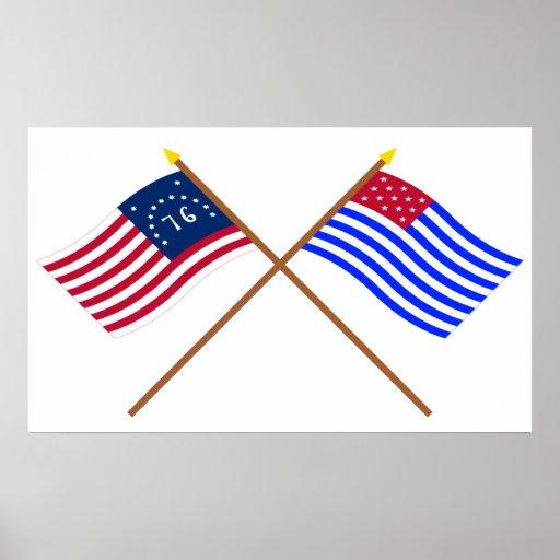 Banderas cruzadas del sedero de Bennington y del p Póster