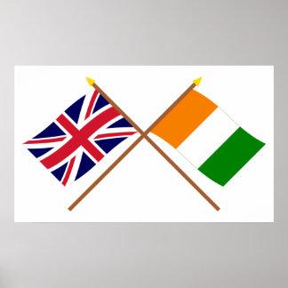 Banderas cruzadas d'Ivoire de Reino Unido y de Cot Póster
