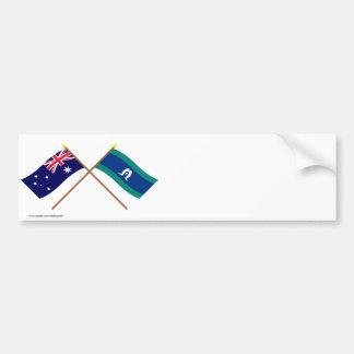 Banderas cruzadas islas de Australia y del Pegatina Para Auto