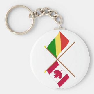 Banderas cruzadas república de Canadá y de Congo Llaveros Personalizados