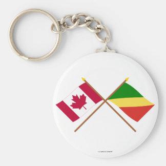 Banderas cruzadas república de Canadá y de Congo Llaveros