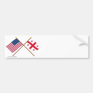 Banderas cruzadas república de los E.E.U.U. y de G Pegatina De Parachoque