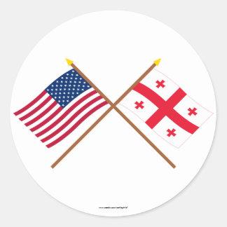 Banderas cruzadas república de los E.E.U.U. y de Pegatina Redonda