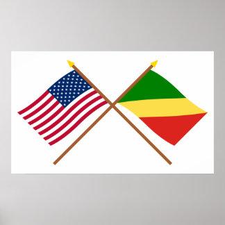 Banderas cruzadas república de los E.E.U.U. y de Póster