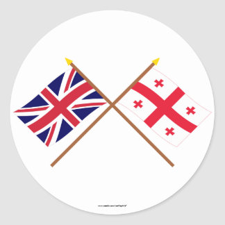Banderas cruzadas república de Reino Unido y de Pegatina Redonda