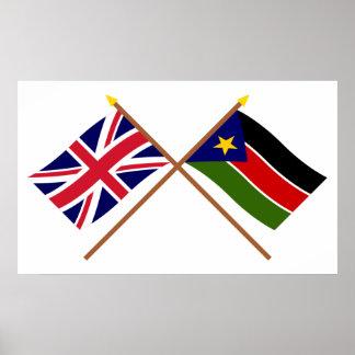 Banderas cruzadas Sudán BRITÁNICAS y meridionales Póster