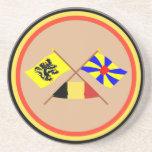 Banderas cruzadas w Bélgica de Flandes y de Flande Posavasos Cerveza