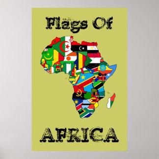 """Banderas de África 36"""" por 24"""" mapa de la bandera  Posters"""