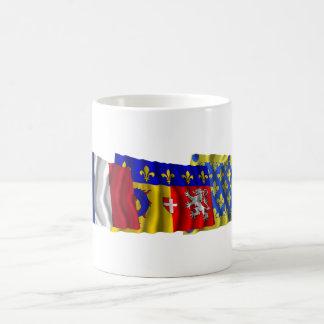 Banderas de Ardèche, de Rhône Alpes y de Francia Tazas De Café