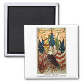 Banderas de batalla de la guerra civil no.1 imán cuadrado