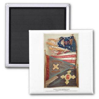 Banderas de batalla de la guerra civil no.2 imán cuadrado