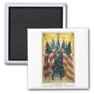 Banderas de batalla de la guerra civil no.3 imán cuadrado
