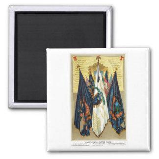 Banderas de batalla de la guerra civil no.4 imán cuadrado