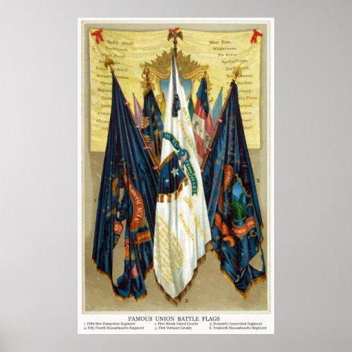 Banderas de batalla de la guerra civil no.4 póster