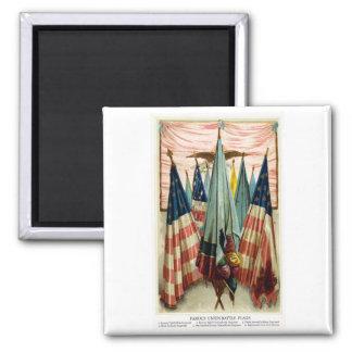 Banderas de batalla de la guerra civil no.5 imán cuadrado