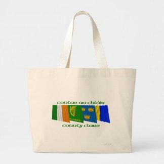 Banderas de Clare del condado Bolsa Tela Grande