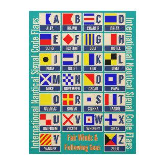 Banderas de código internacionales de la muestra cuadro de madera