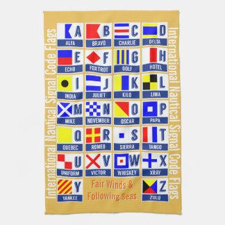 Banderas de código marítimas de la señal toalla de cocina