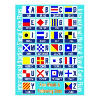 Banderas de código náuticas internacionales de la postales