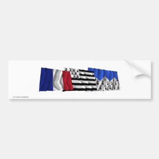 Banderas de Côtes-d Armor de Bretaña y de Francia Pegatina De Parachoque