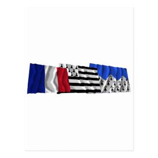 Banderas de Côtes-d'Armor, de Bretaña y de Francia Postal