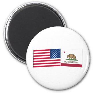 Banderas de Estados Unidos y de California Iman De Frigorífico