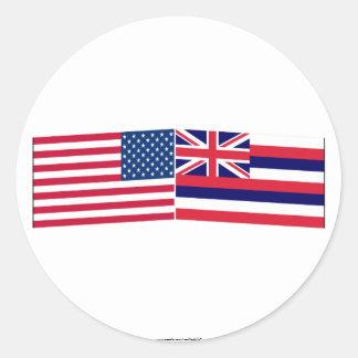 Banderas de Estados Unidos y de Hawaii Pegatina Redonda