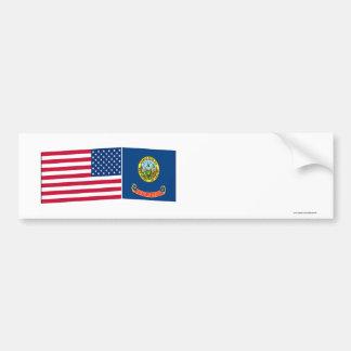 Banderas de Estados Unidos y de Idaho Etiqueta De Parachoque