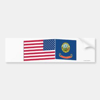 Banderas de Estados Unidos y de Idaho Pegatina De Parachoque